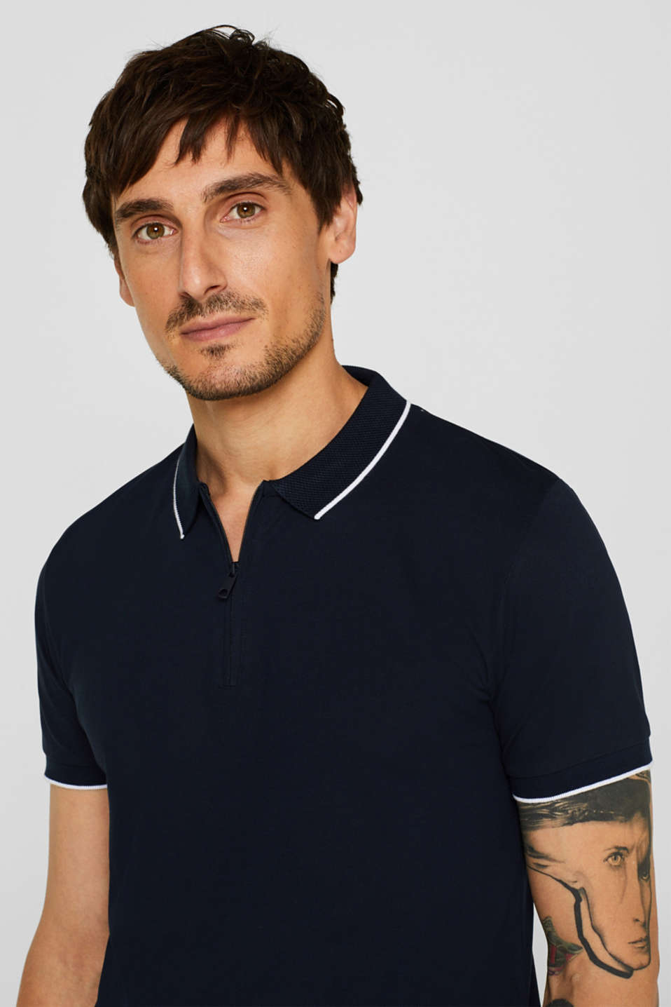 Piqué polo shirt with organic cotton, NAVY, detail image number 5