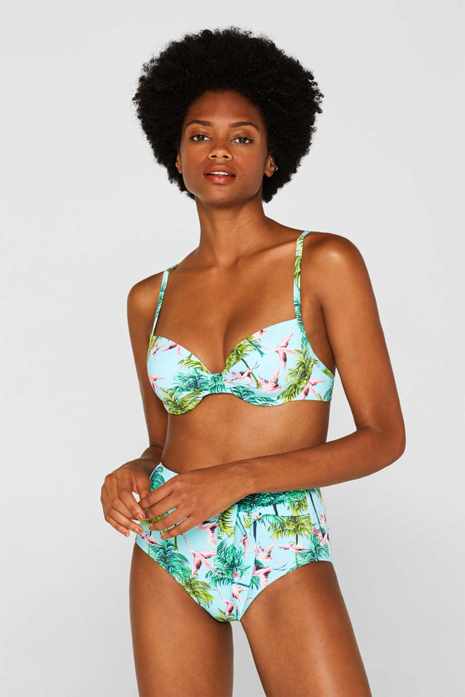 High-waisted briefs with a flamingo print, TURQUOISE, detail image number 1