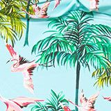 Padded swimsuit with a flamingo print, TURQUOISE, swatch