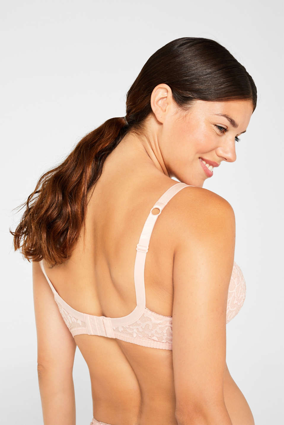 Unpadded underwire lace bra for large cup sizes, NUDE, detail image number 1