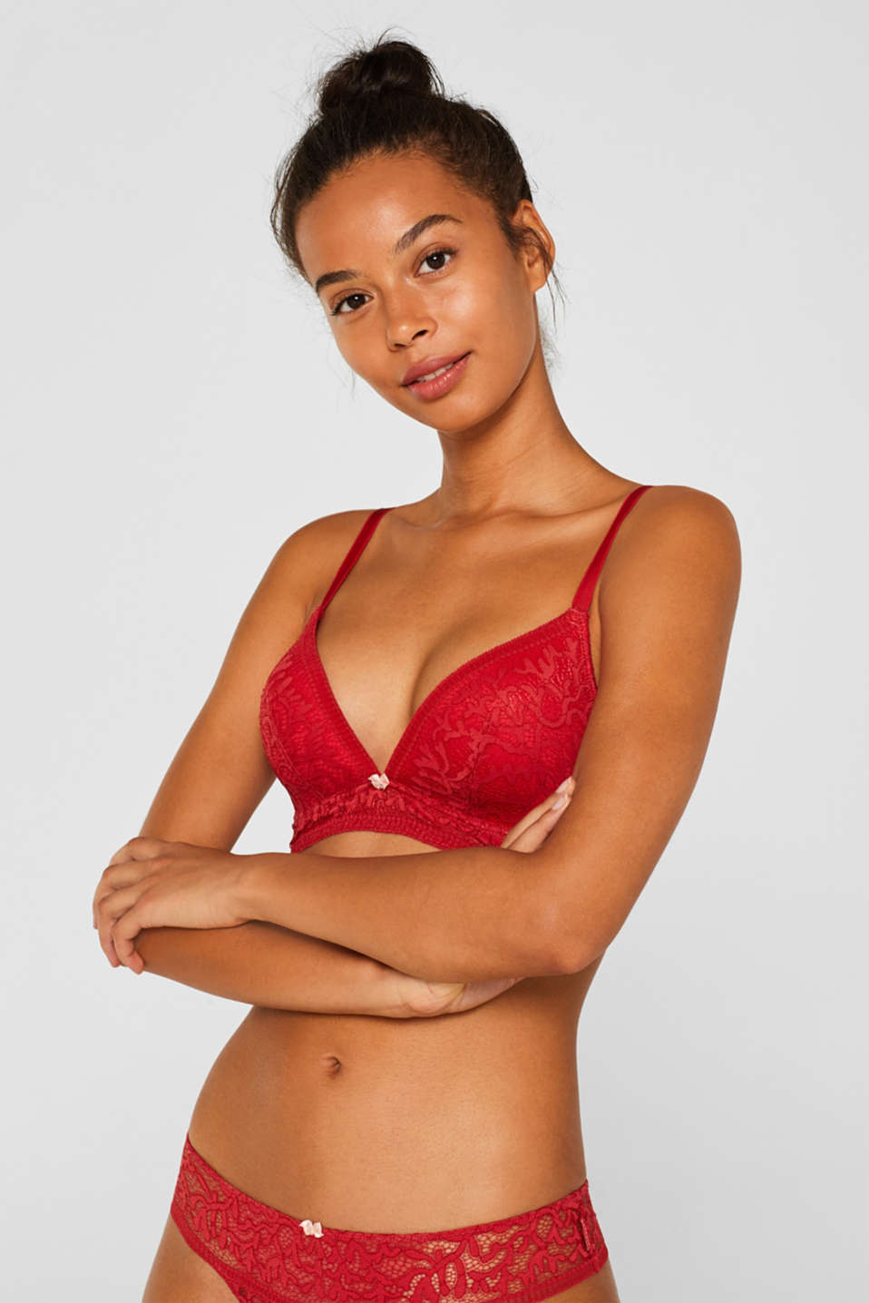 Non-wired bra made of graphic lace, CORAL RED, detail image number 0