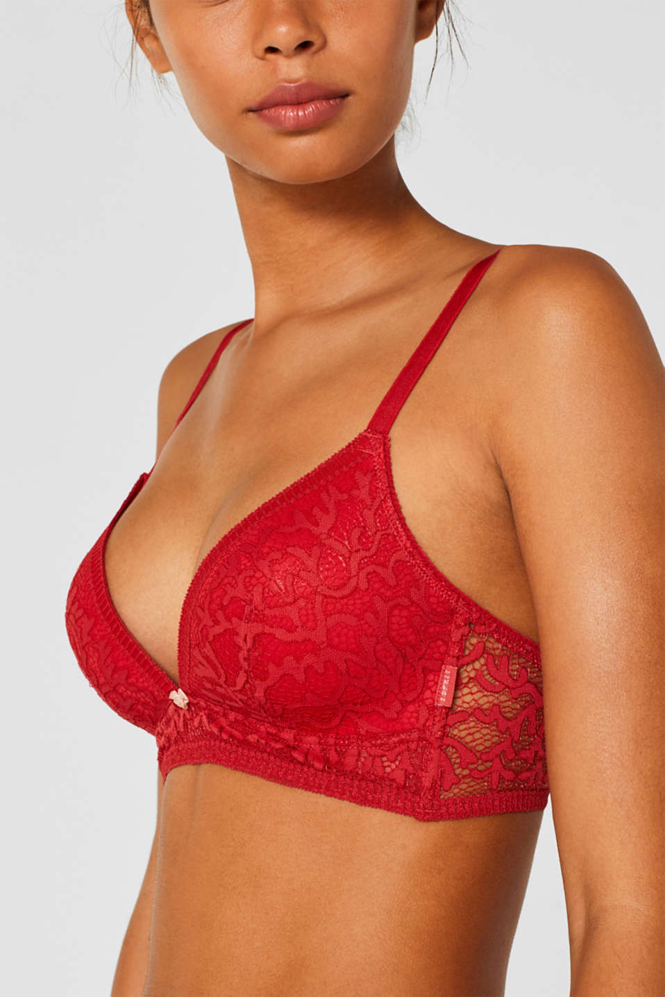 Non-wired bra made of graphic lace, CORAL RED, detail image number 2