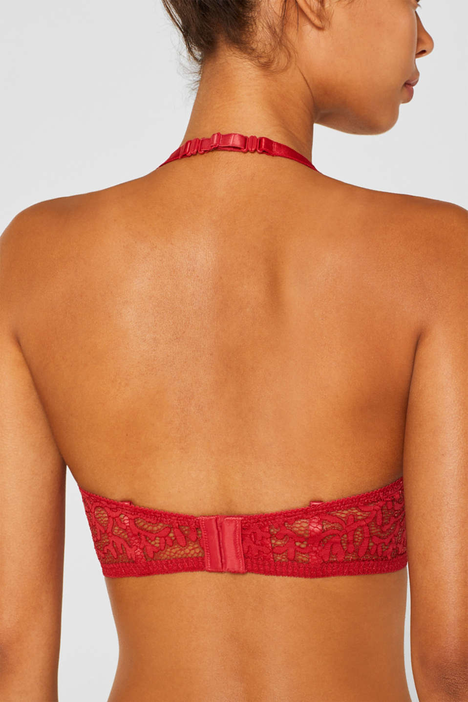Non-wired bra made of graphic lace, CORAL RED, detail image number 3
