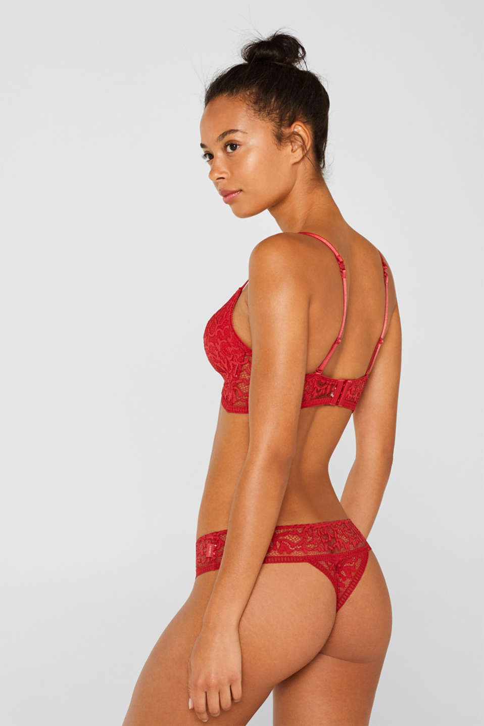 Lace hipster thong, CORAL RED, detail image number 2