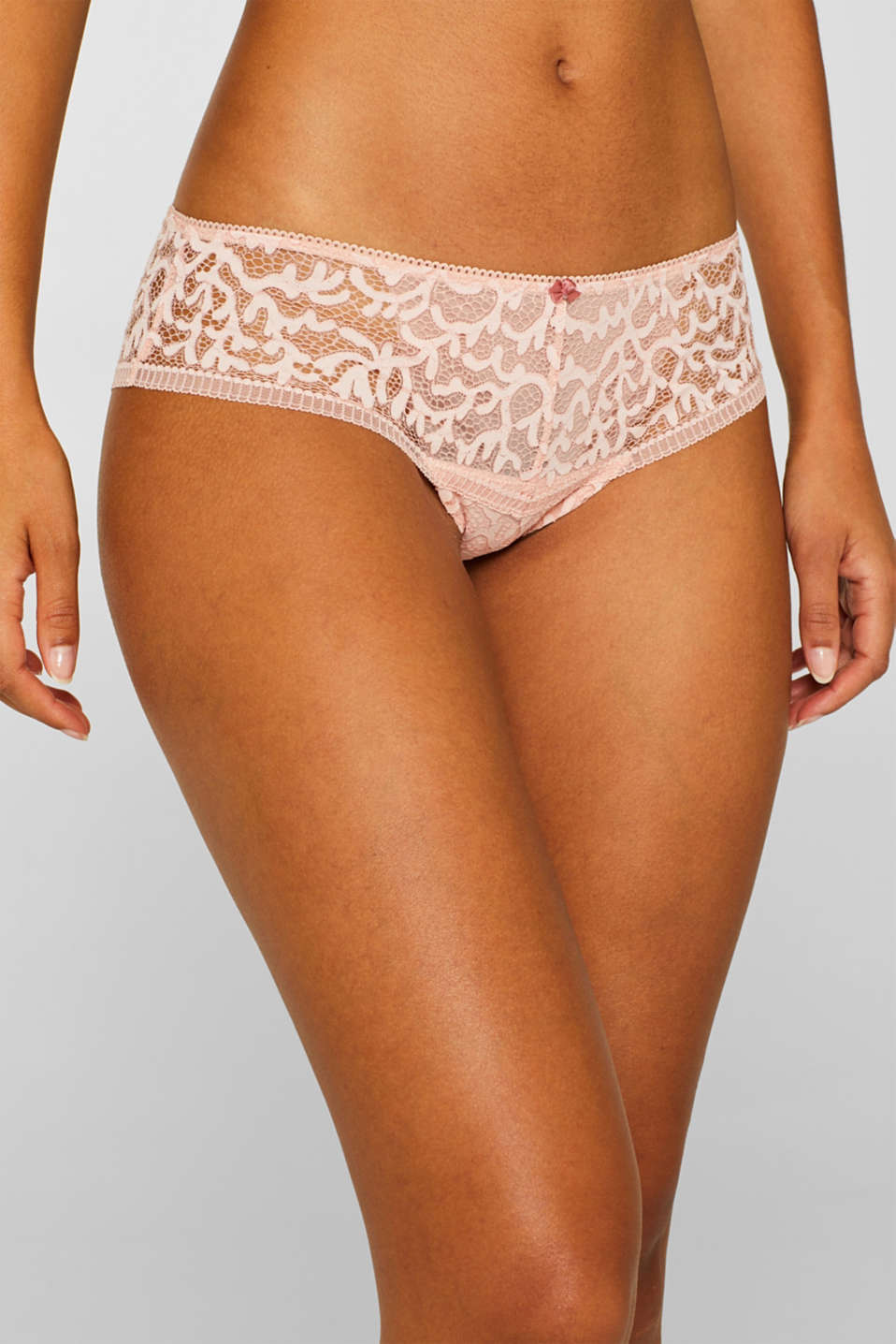 Brazilian hipster shorts in geometric lace, NUDE, detail image number 0