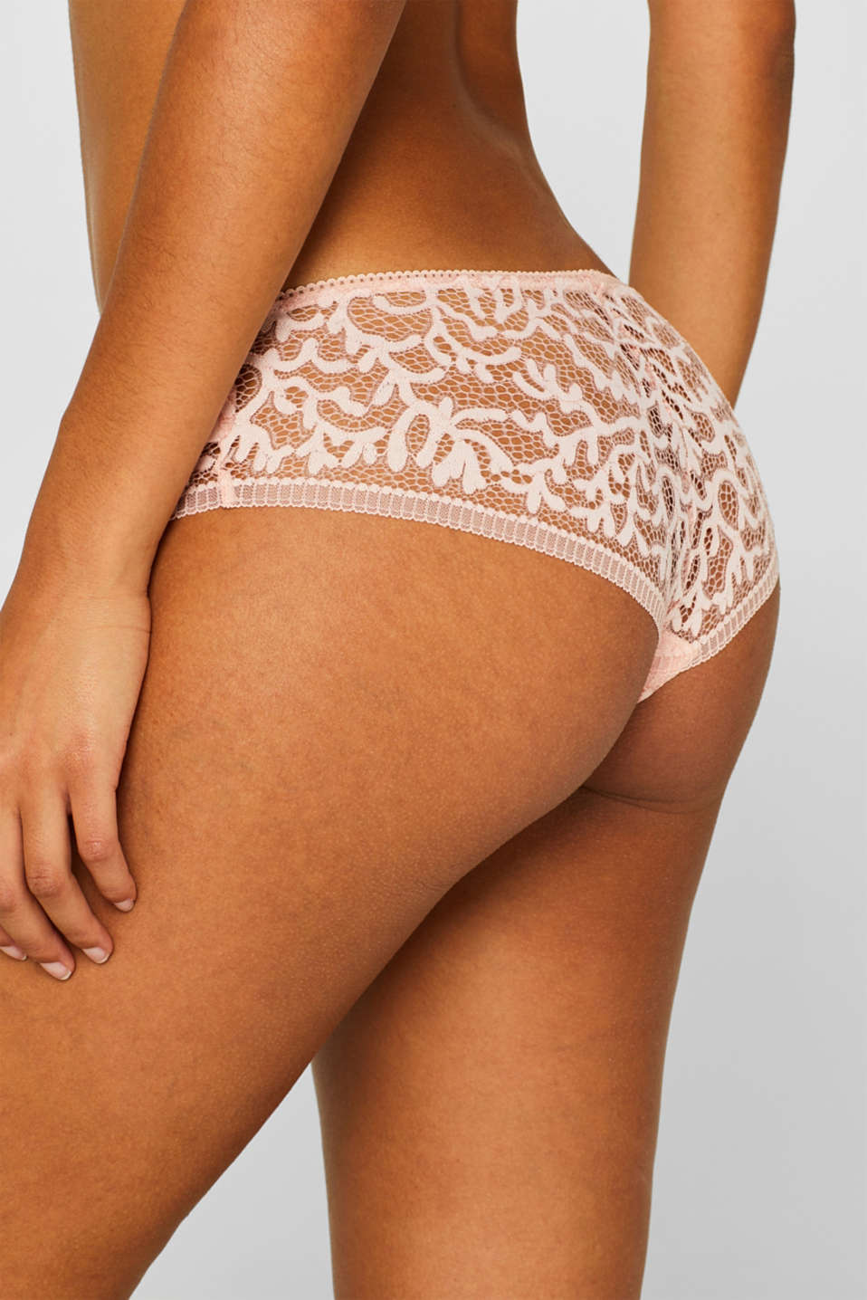 Brazilian hipster shorts in geometric lace, NUDE, detail image number 2
