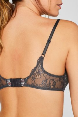 Padded underwire bra with a print and lace