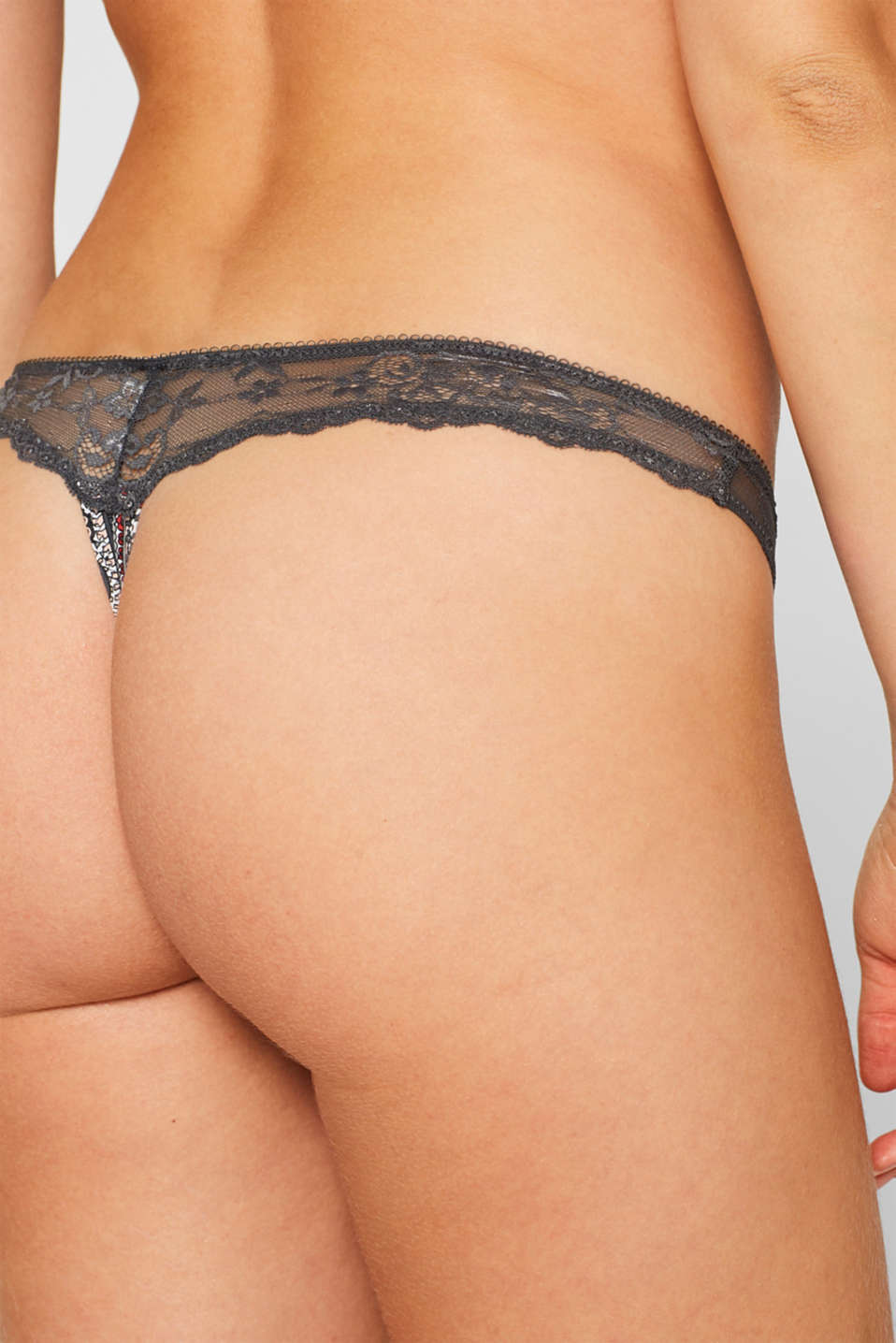 Brazilian hipster thong with print and lace, ANTHRACITE, detail image number 3
