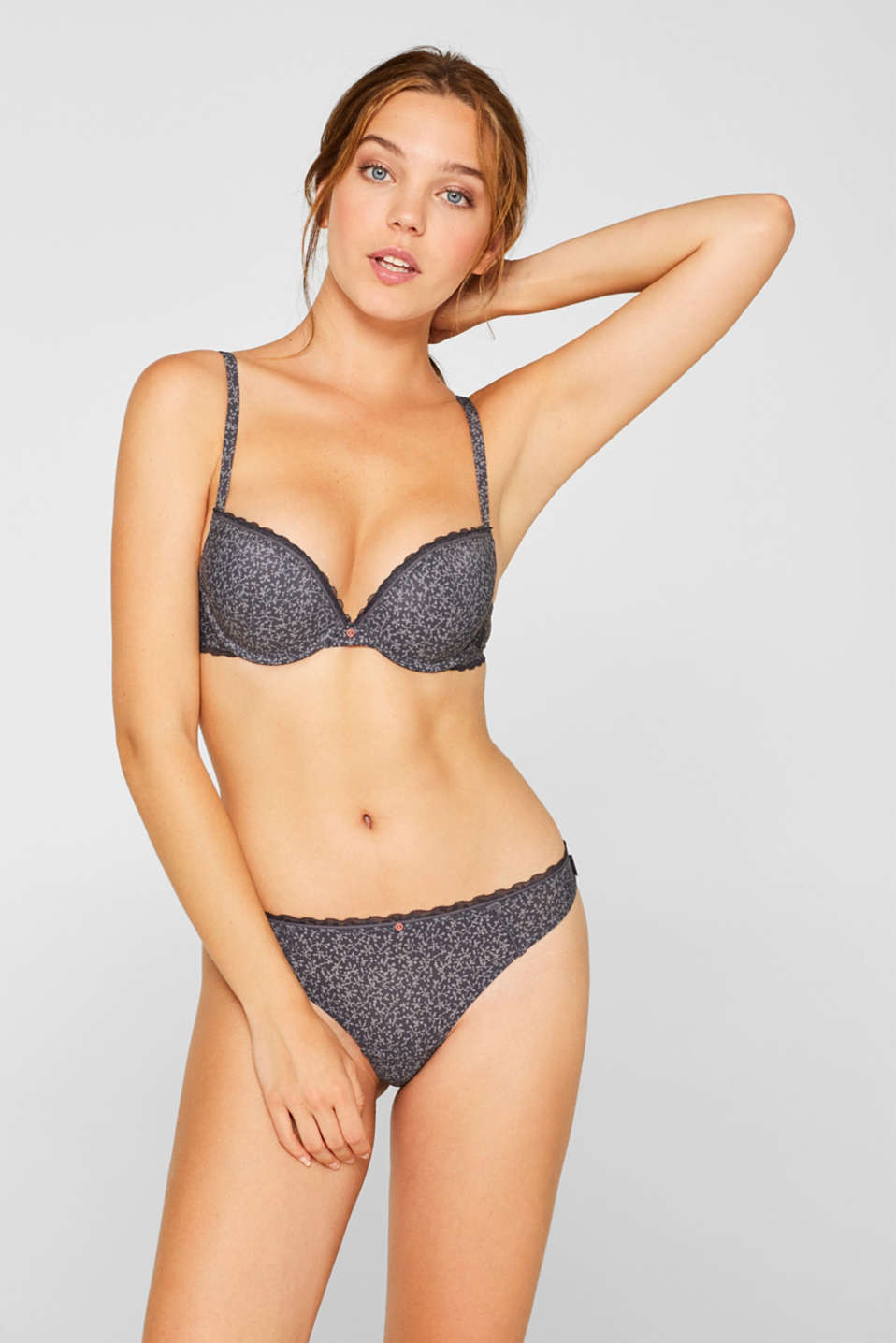 Esprit - Push-up bra with a print and lace