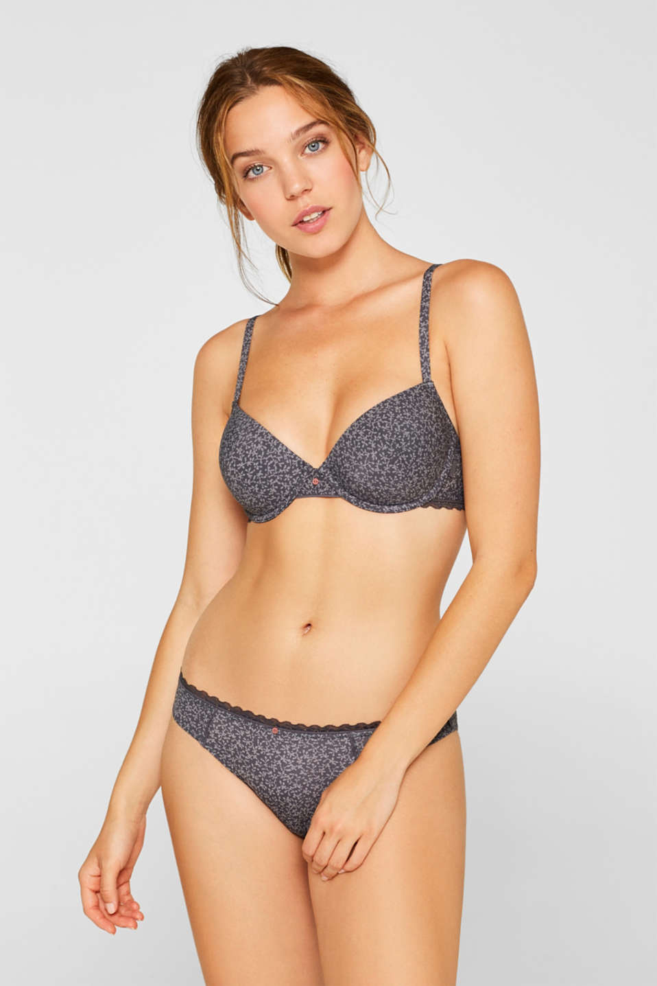 Padded underwire bra with a print and lace, ANTHRACITE, detail image number 0