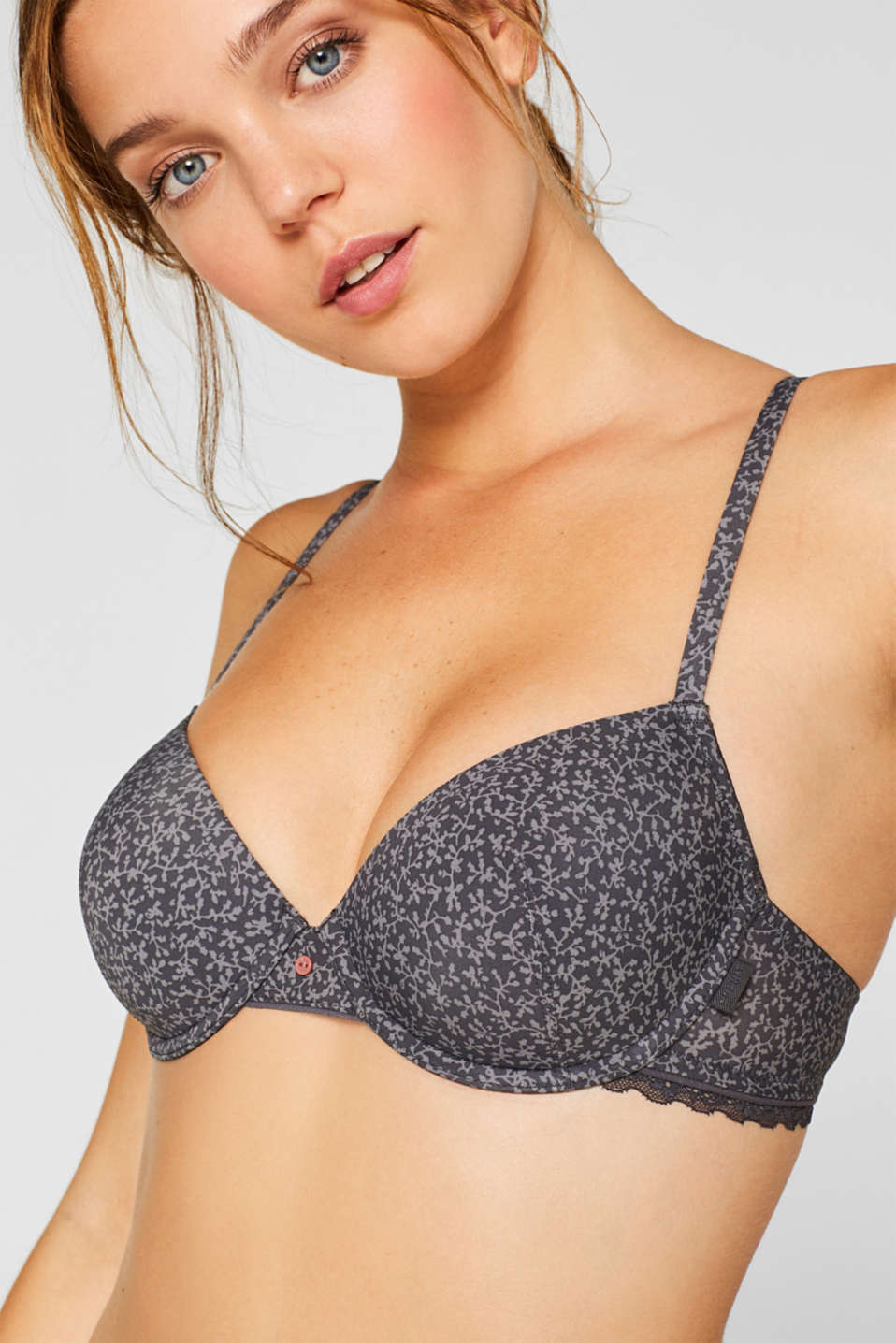 Padded underwire bra with a print and lace, ANTHRACITE, detail image number 2