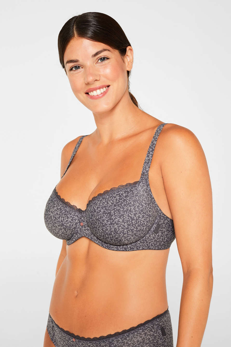 Esprit - Unpadded underwire bra with a tendril print