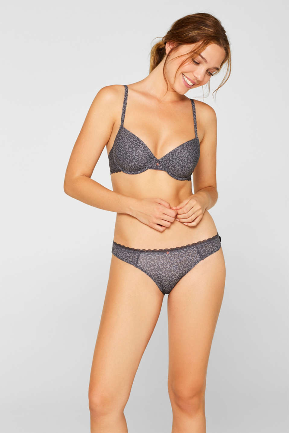 Hipster briefs with print and lace, ANTHRACITE, detail image number 0