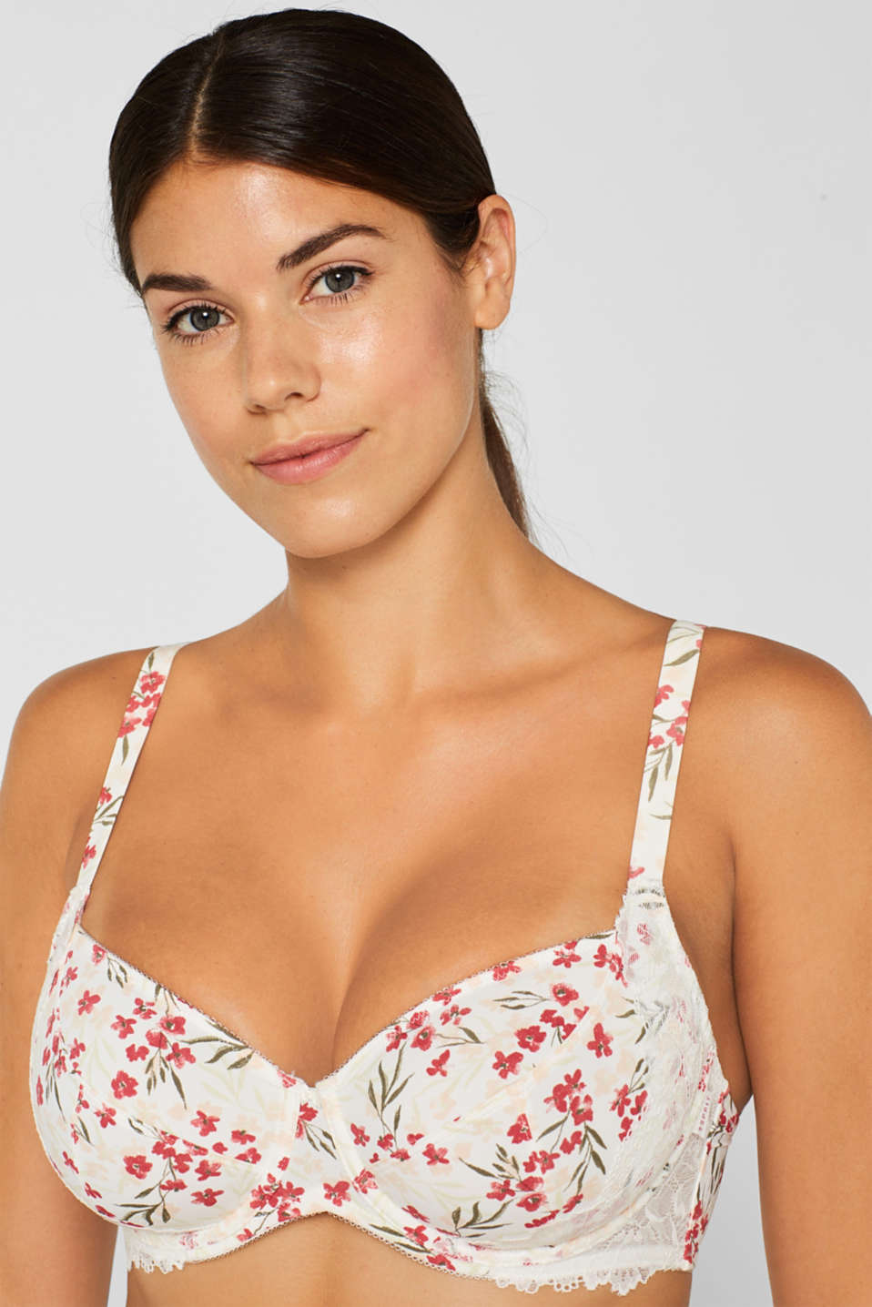 Unpadded underwire bra with a print, for larger cup sizes, OFF WHITE, detail image number 2