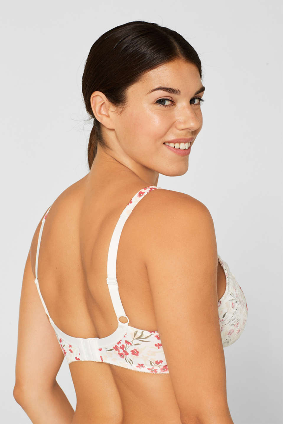Unpadded underwire bra with a print, for larger cup sizes, OFF WHITE, detail image number 3