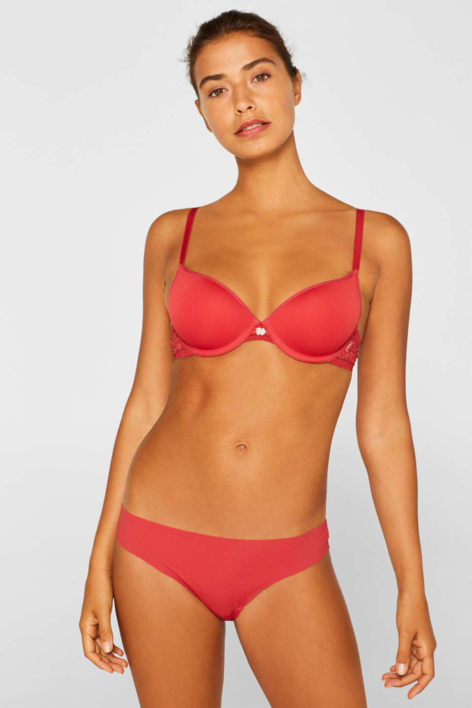 Hipster thong with lace in a double pack, CORAL RED, detail image number 0