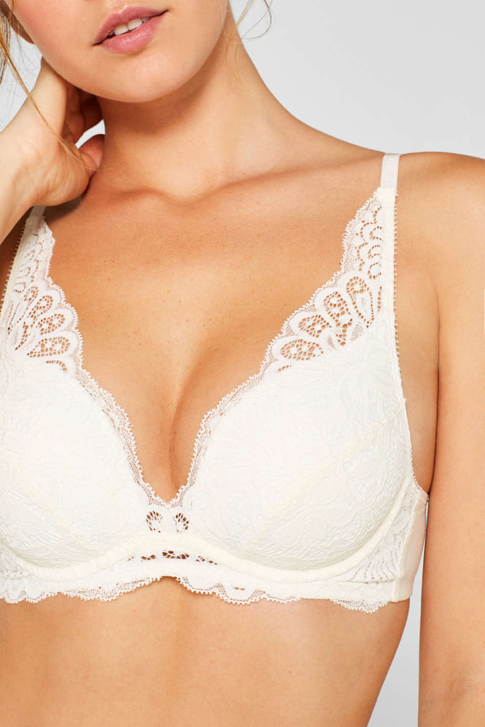 Push-up bra made of retro lace, OFF WHITE, detail image number 3