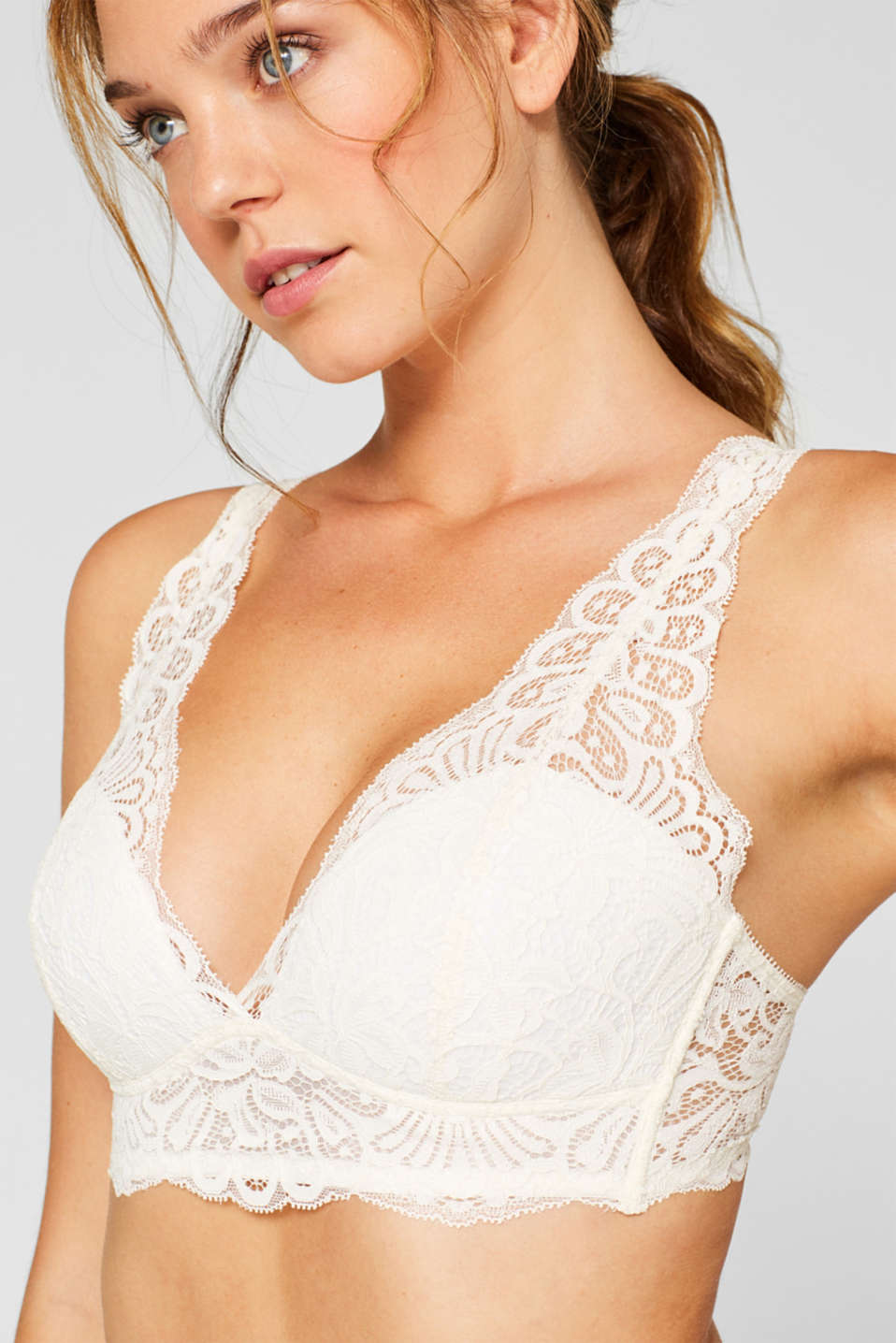 Padded, wireless bra in crocheted lace, OFF WHITE, detail image number 2