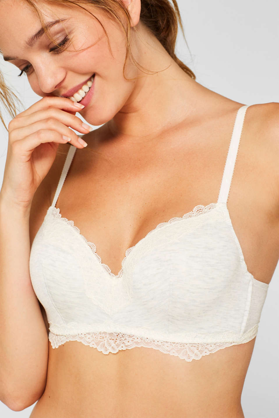 padded melange bra with concealed underwire, OFF WHITE, detail image number 2