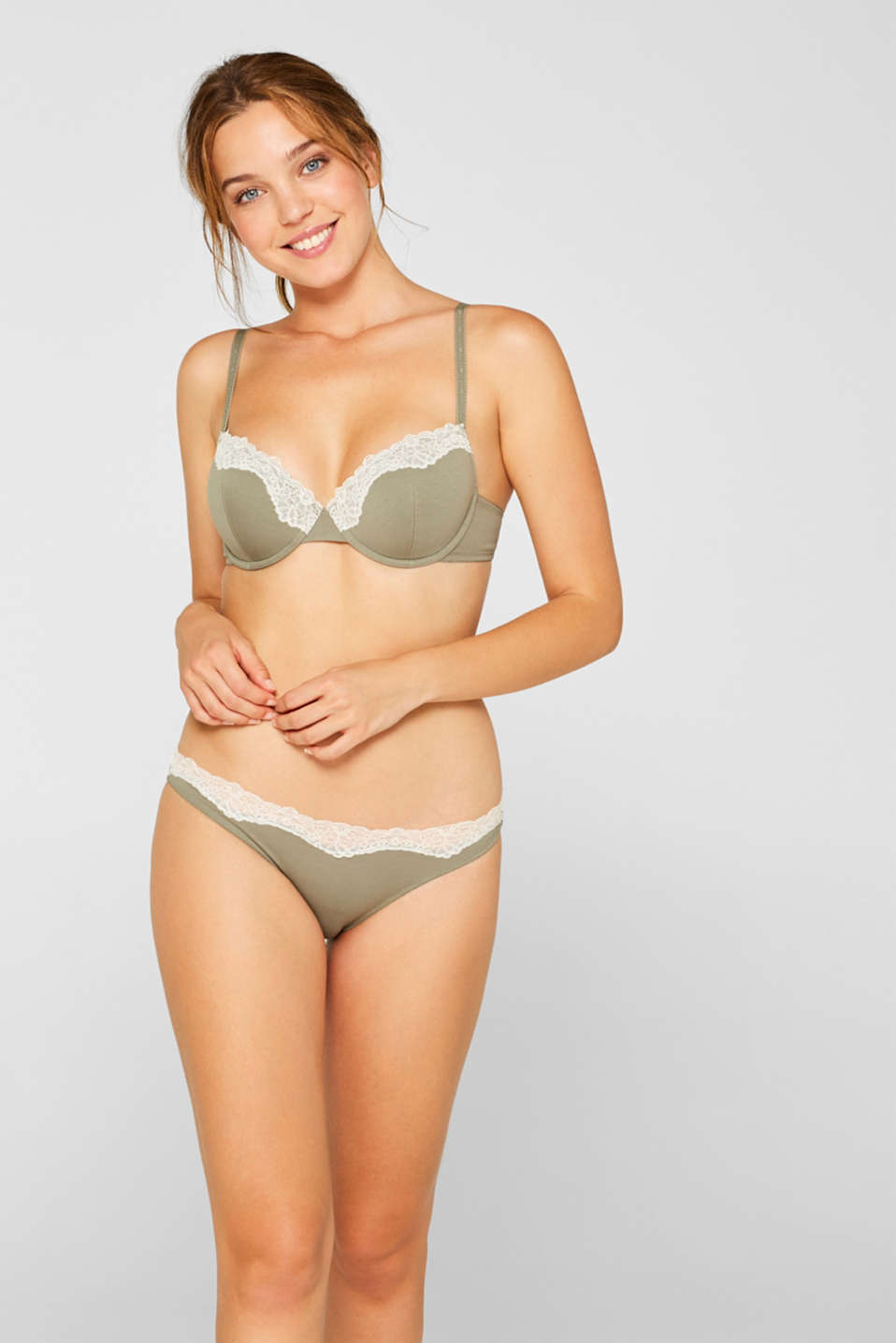 Hipster briefs made of blended cotton with lace, LIGHT KHAKI, detail image number 0