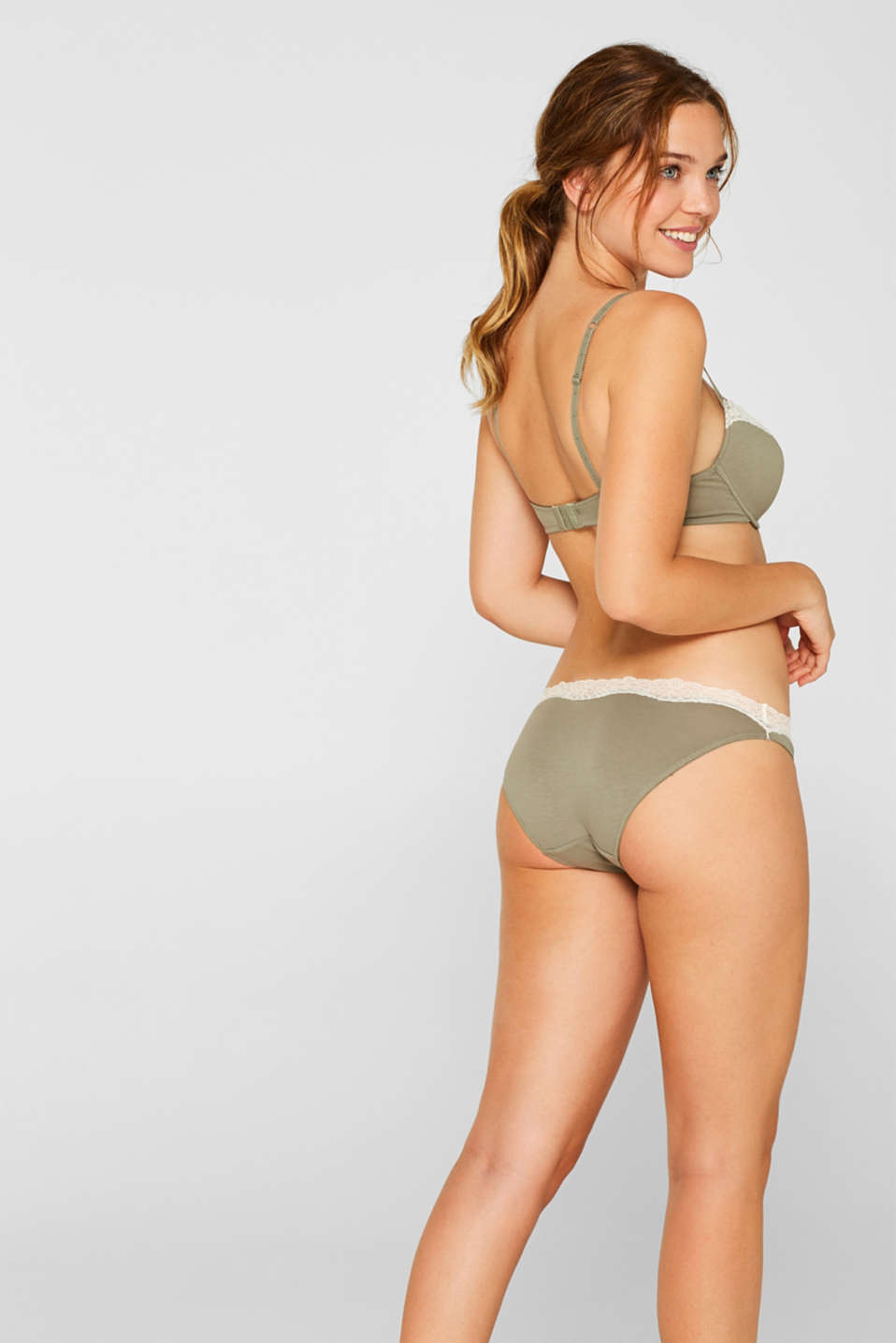 Hipster briefs made of blended cotton with lace, LIGHT KHAKI, detail image number 2