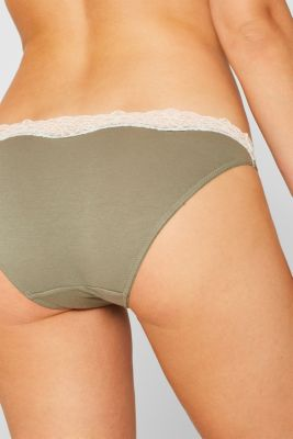 Hipster briefs made of blended cotton with lace, LIGHT KHAKI, detail