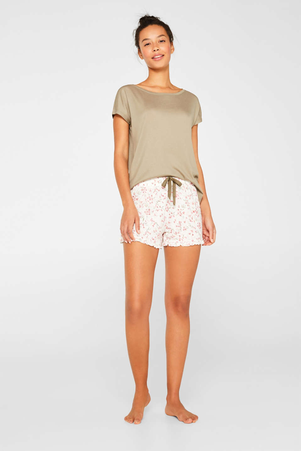 Esprit - Printed stretch jersey shorts with frills