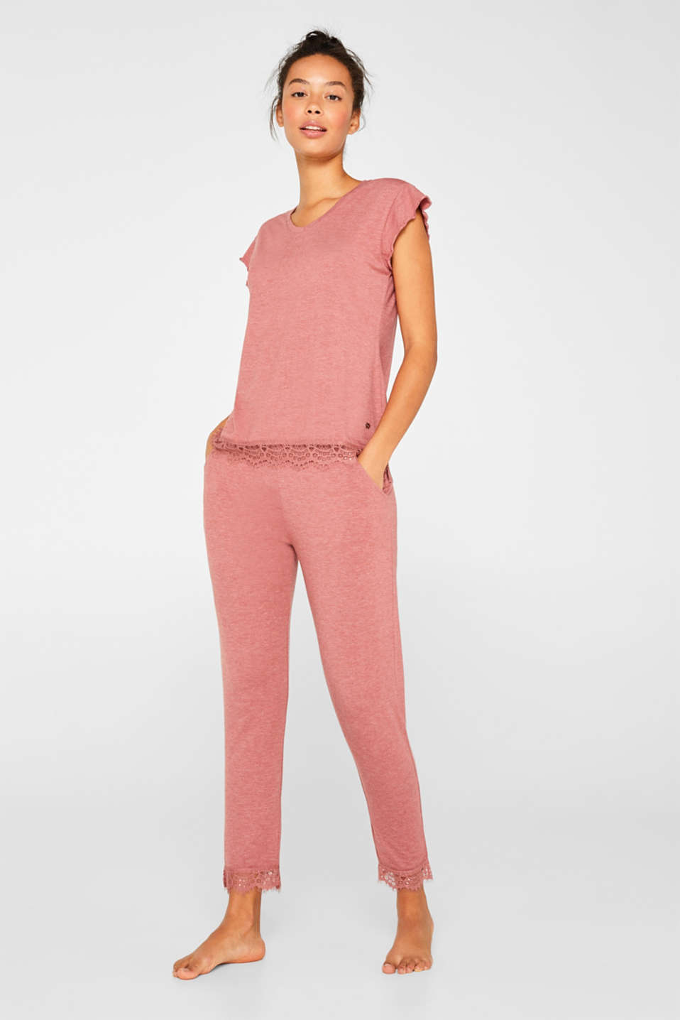 Esprit - Melange jersey pyjamas with lace