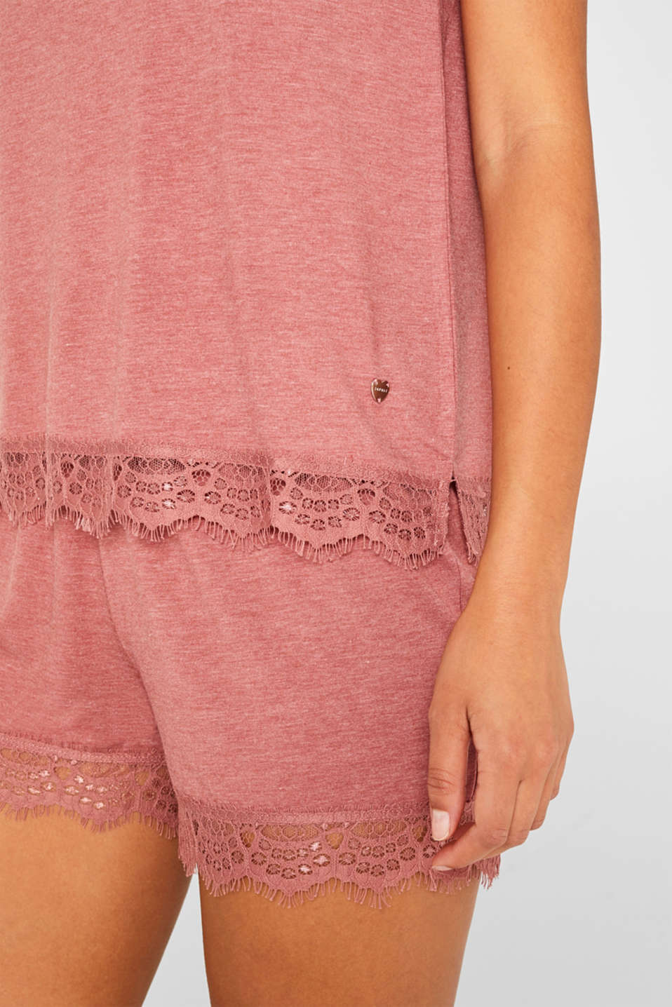 Melange jersey top with lace, BLUSH, detail image number 2