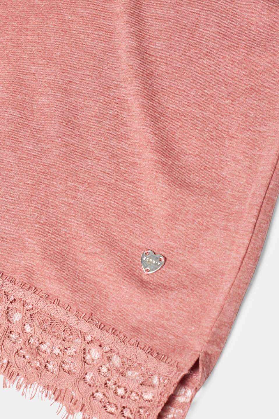 Melange jersey top with lace, BLUSH, detail image number 3