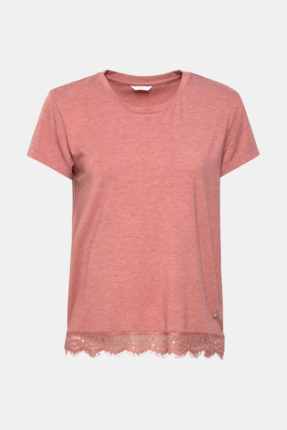 Melange jersey top with lace, BLUSH, detail image number 4