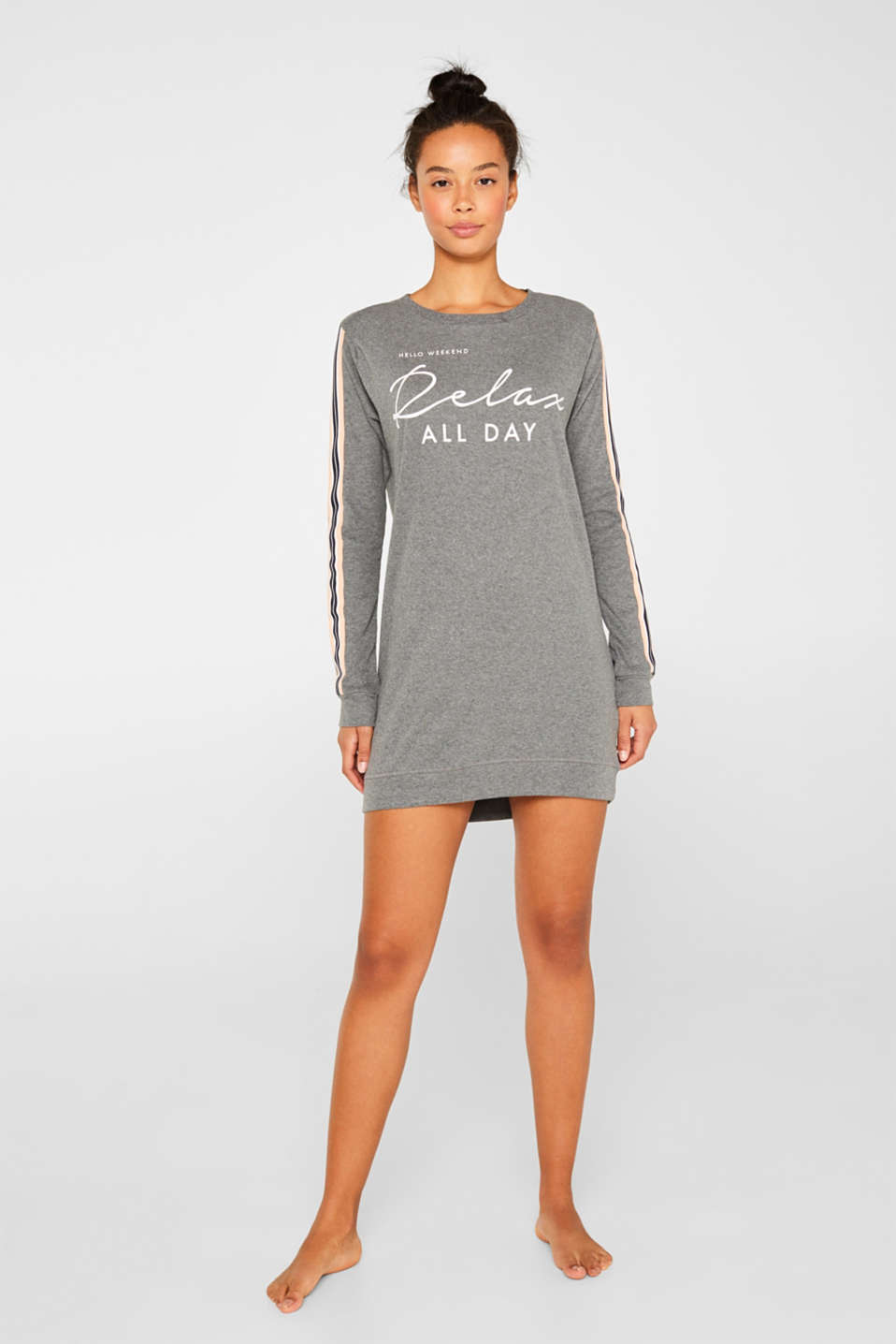 Esprit - Jersey nightshirt with print and racing stripes