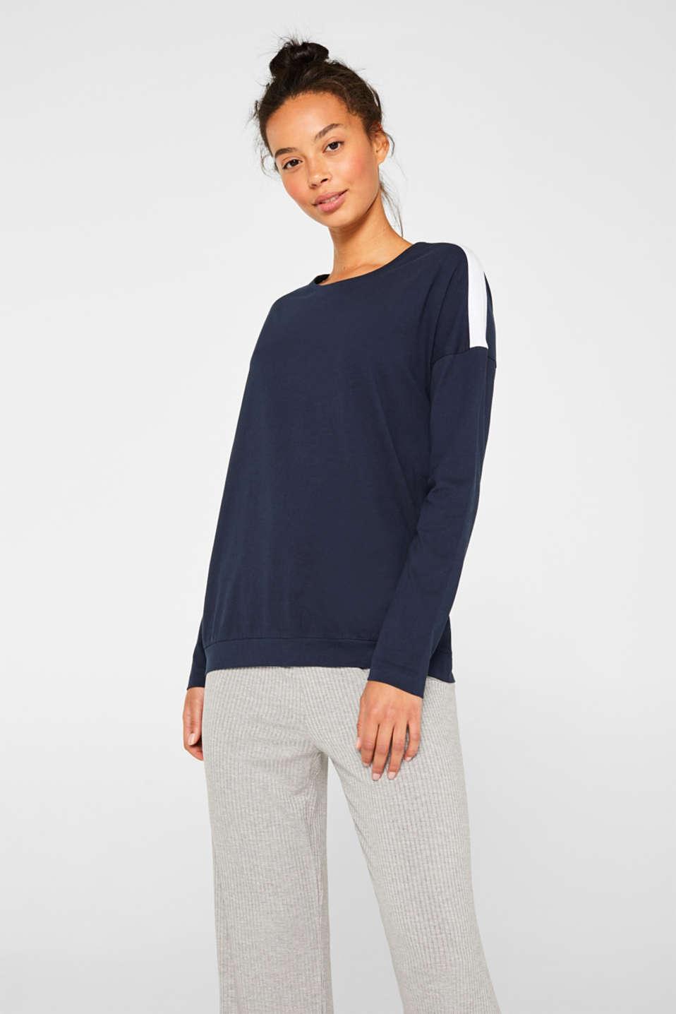 Stripe detail long sleeve top, 100% cotton