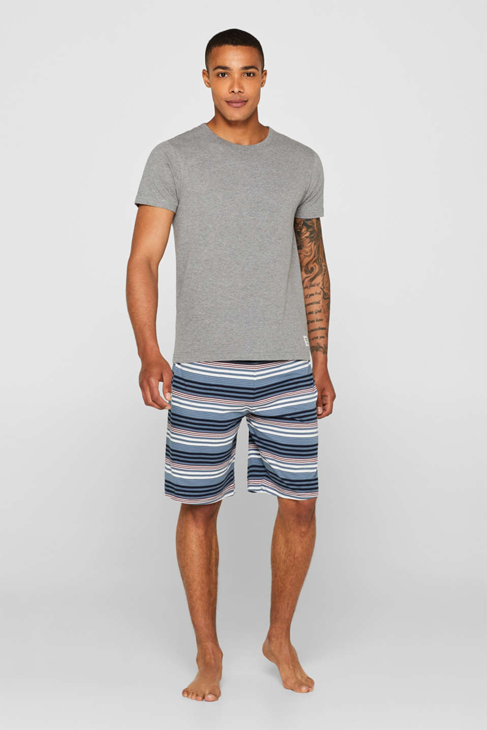 Esprit - Jersey pyjamas featuring checked Bermuda bottoms