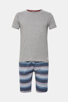 Jersey pyjamas featuring checked Bermuda bottoms, NAVY, detail