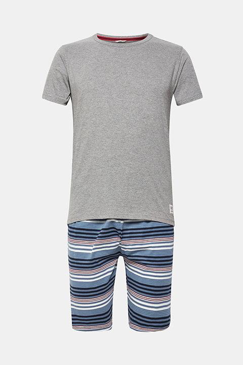Jersey pyjamas featuring checked Bermuda bottoms