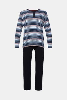 Striped jersey pyjamas, 100% cotton, NAVY, detail