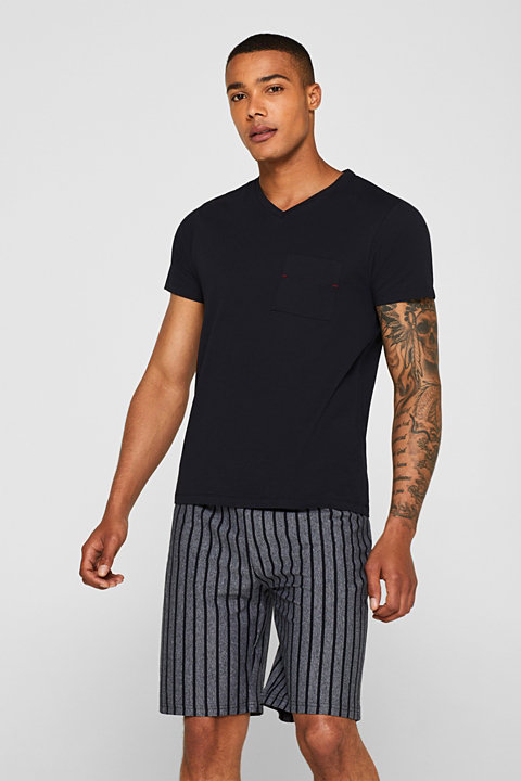 Jersey pyjamas featuring striped Bermuda bottoms