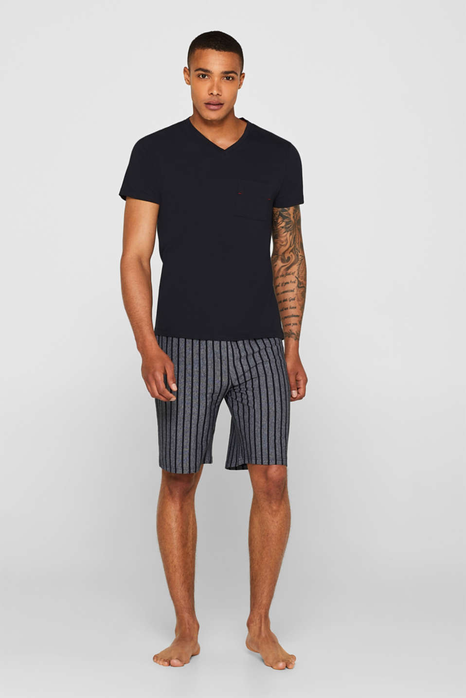 Esprit - Jersey pyjamas featuring striped Bermuda bottoms
