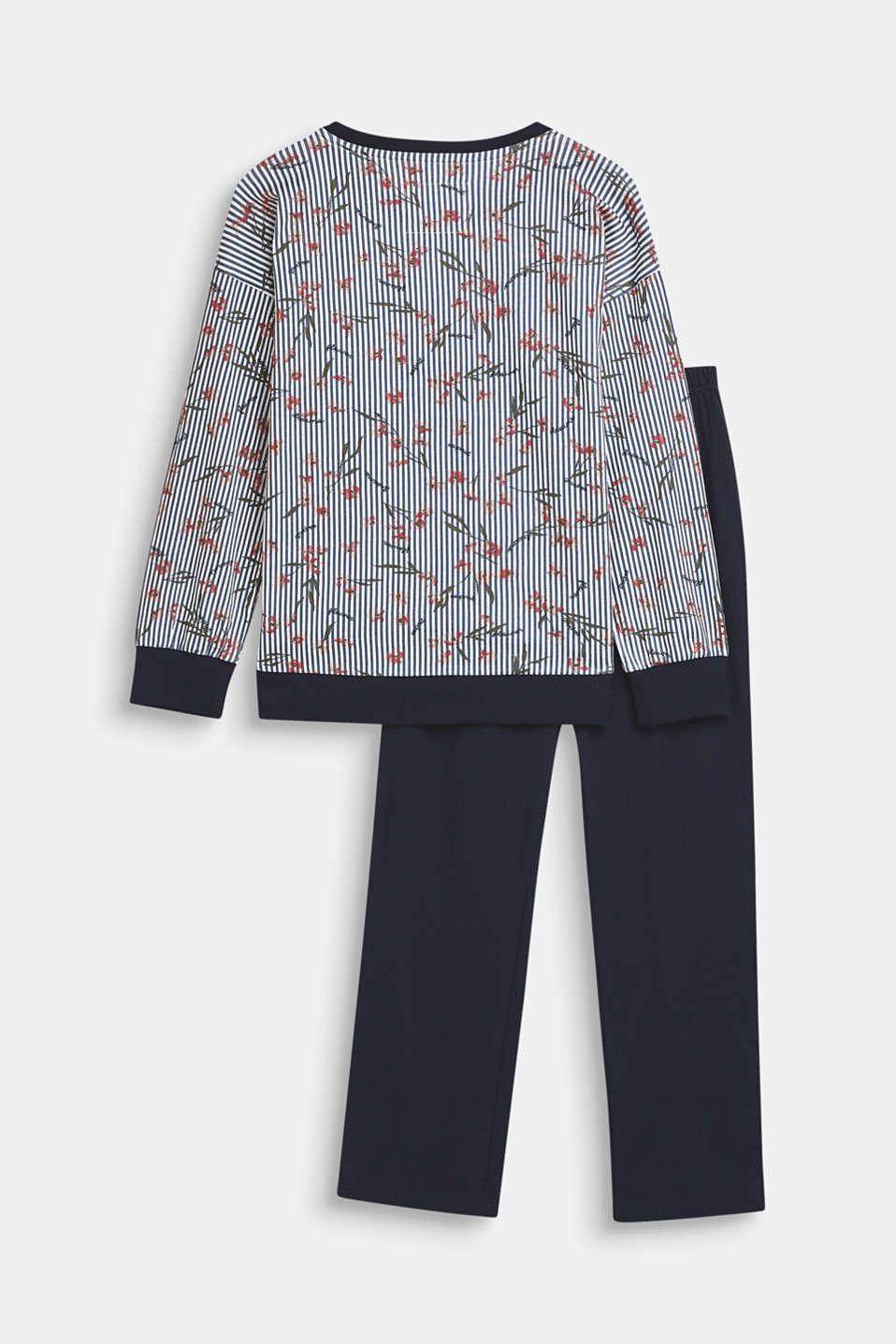 Printed jersey pyjamas, 100% cotton, NAVY, detail image number 1