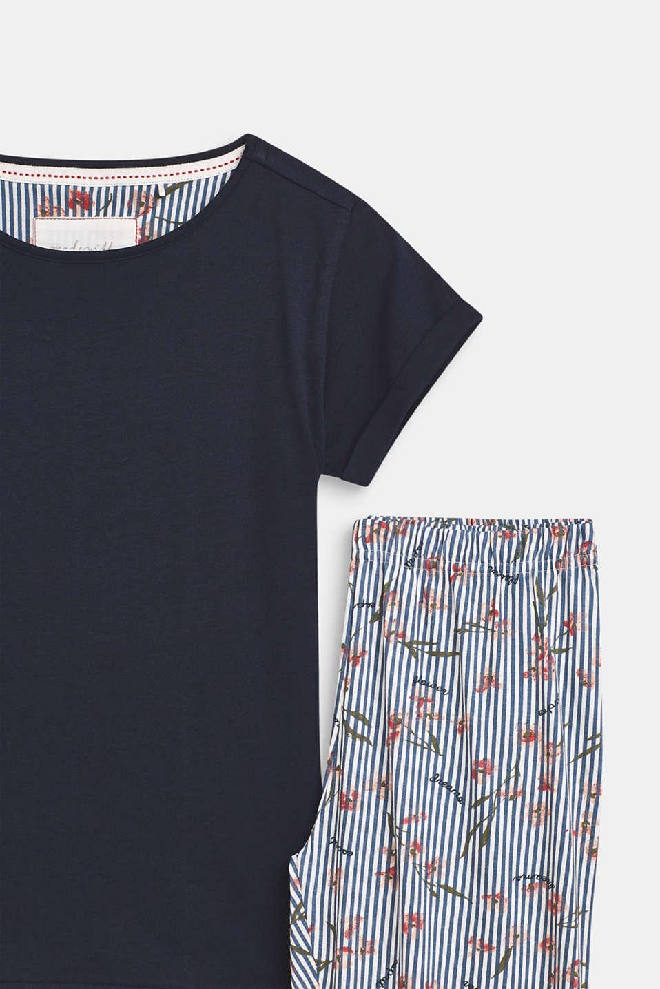 Printed jersey pyjamas, 100% cotton, NAVY, detail image number 2