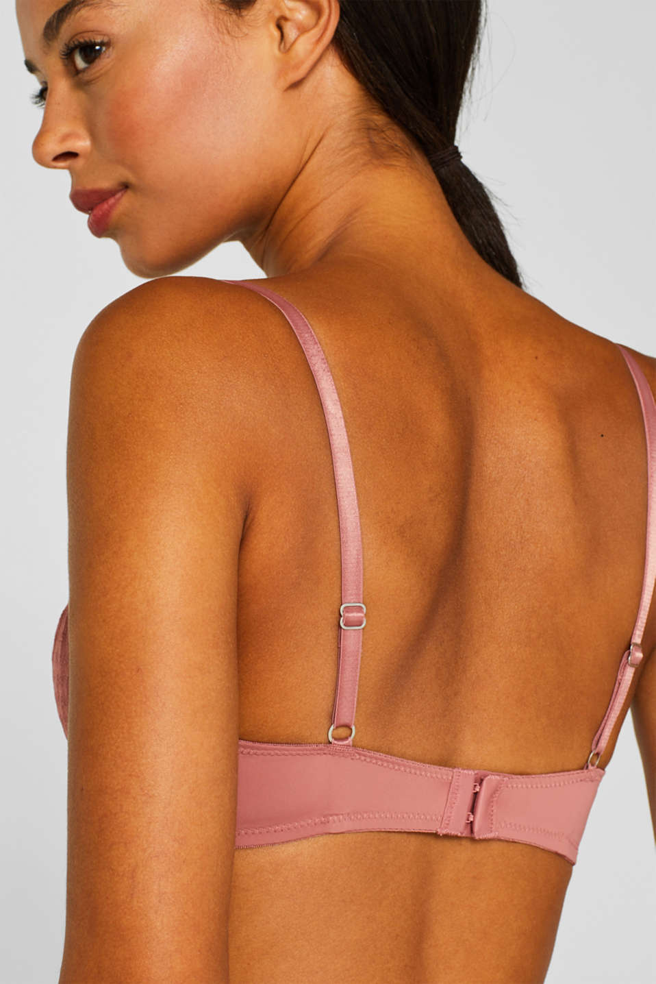 NYE unpadded underwire bra with geometric lace, BLUSH, detail image number 3