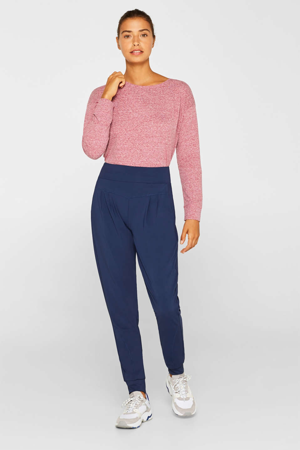 Active trousers with hem borders, E-DRY