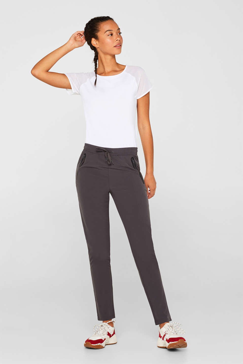 Esprit - Woven trousers with piping, E-DRY
