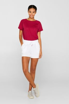 T-shirt made of airy mesh, 100% cotton, CHERRY RED, detail