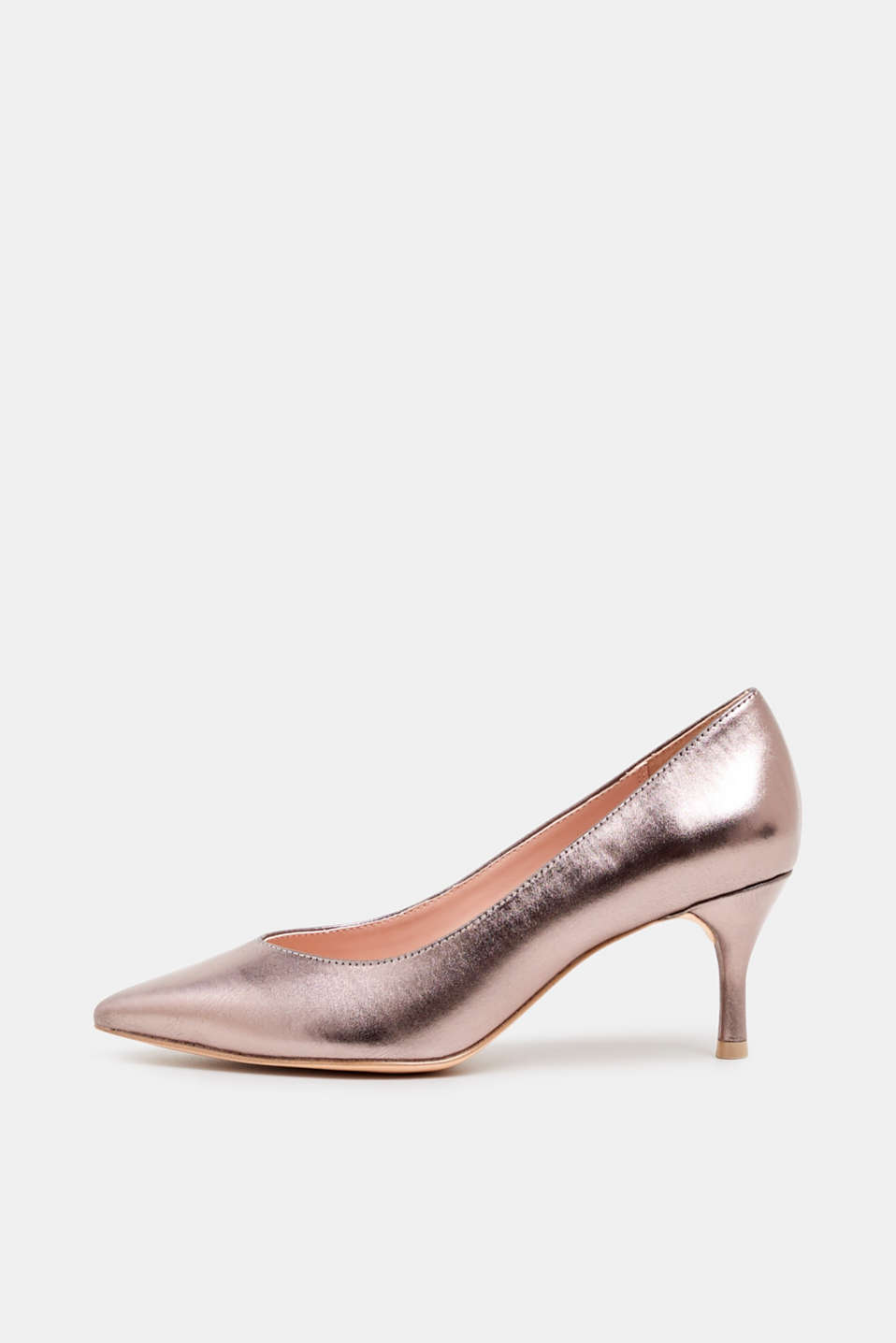 Faux leather court shoes, SILVER, detail image number 0