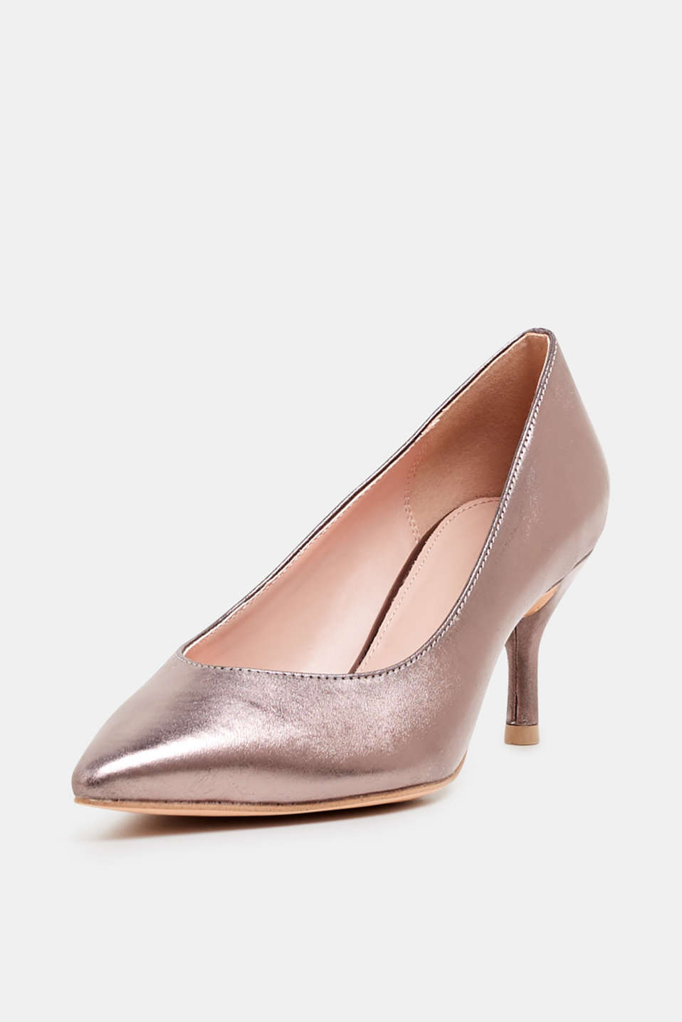 Faux leather court shoes, SILVER, detail image number 2