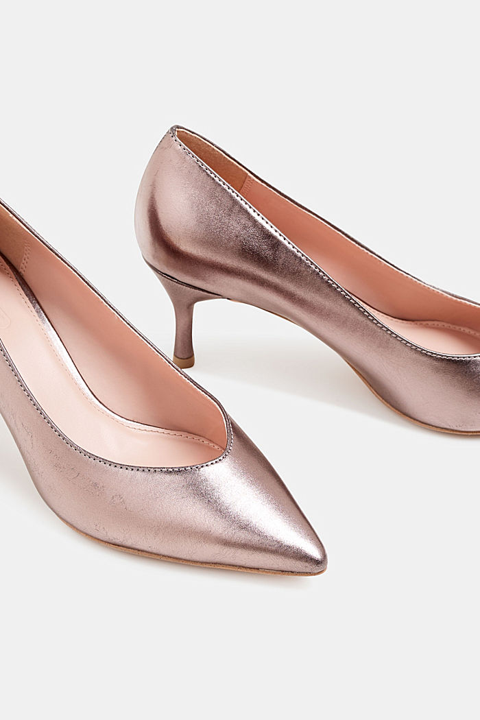 Faux leather court shoes