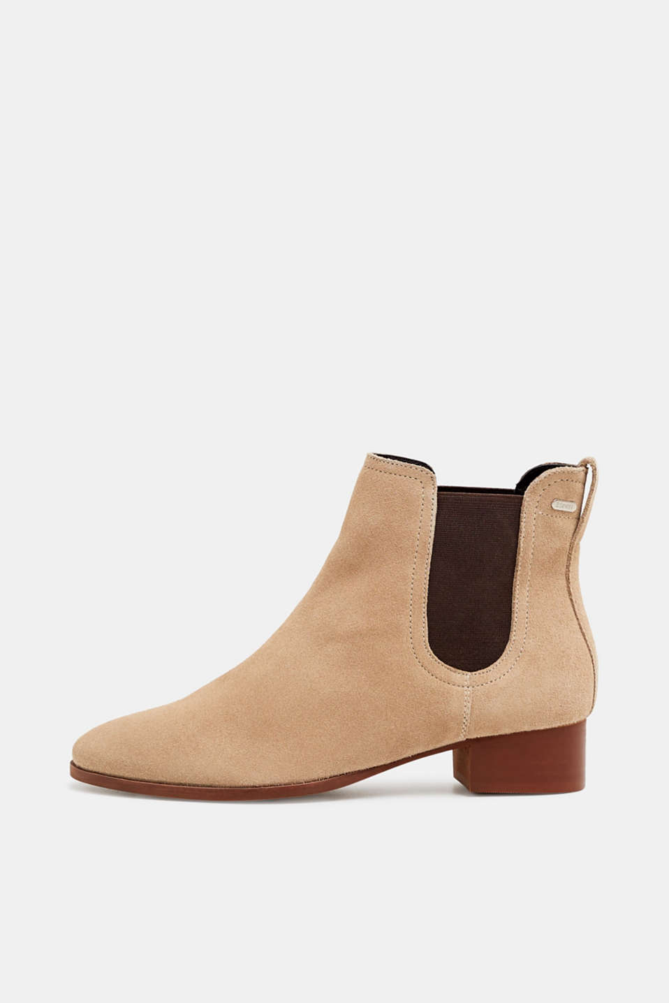 Esprit - Suede ankle boots with elasticated inserts