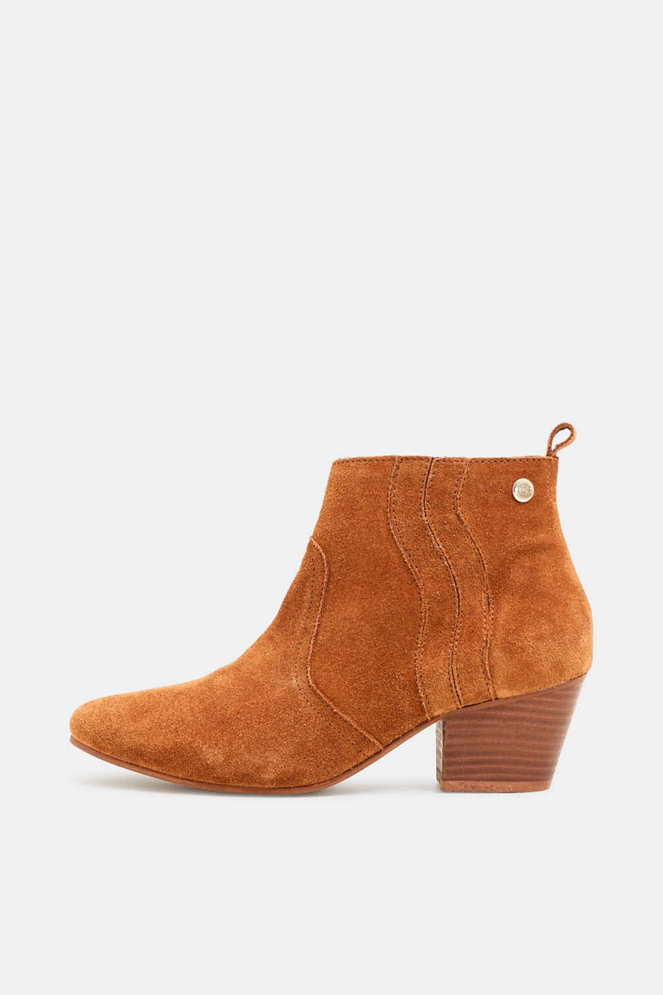 Esprit - Suede ankle boots with decorative stitching